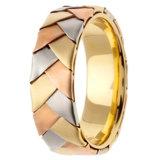14K Tri Color Yellow White Rose Gold Hand Braided