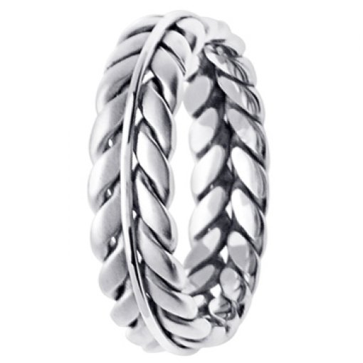 14K White Gold Hand Braided Wheat Design
