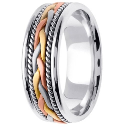 14K Tri Color White Yellow Rose Gold Hand Braided
