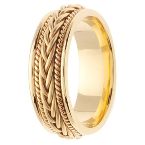 14K Yellow Gold Hand Braided