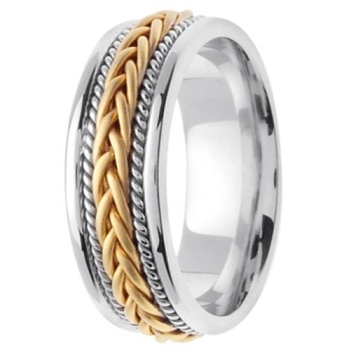 14K Two Tone White Yellow Gold Hand Braided