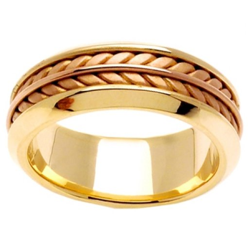 14K Two Tone Yellow Rose Gold Hand Braided Crafted