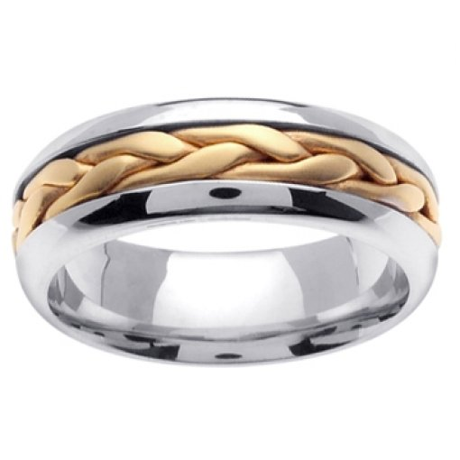 14K Two Tone White Yellow Gold Hand Braided Crafted