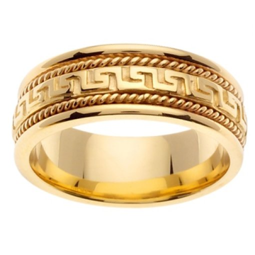 14K Yellow Gold Greek Key hand Crafted