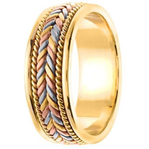 Tri Color Yellow White Rose Gold Wheat Braid Pattern