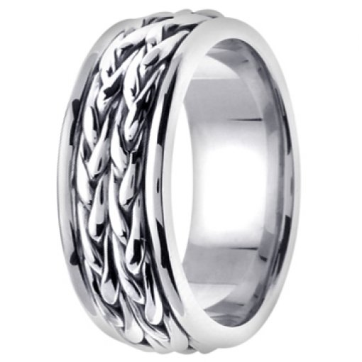 14K White Gold Wheat Double Row Braid Pattern