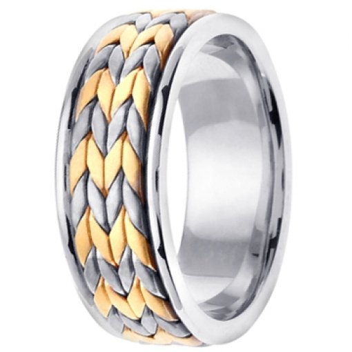14K Two Tone White Yellow Gold Double Wheat Braid