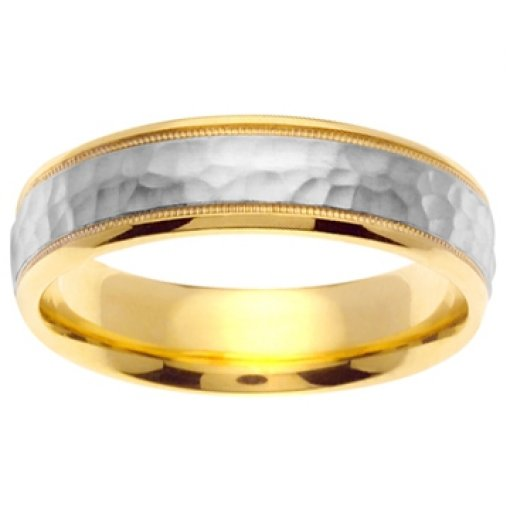 14K Two Tone Yellow White Gold Hammer Design