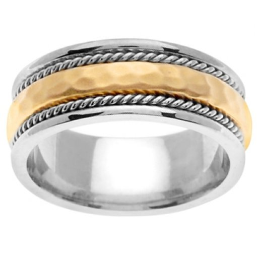 14K Two Tone White Yellow Gold Two Row Hammer Textured