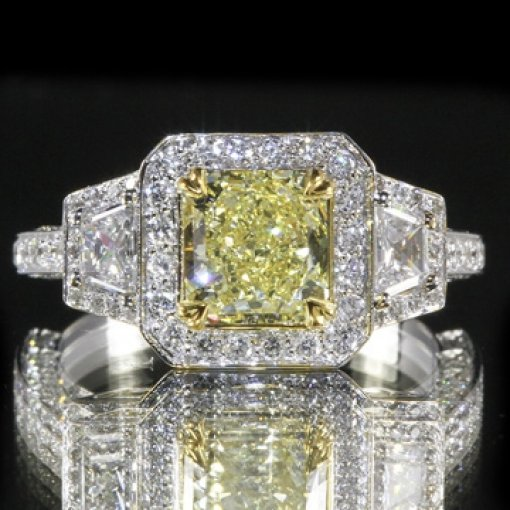 2.6ct GIA Radiant 18K Trapezoid Pave Halo Ring Fancy Intense/SI1