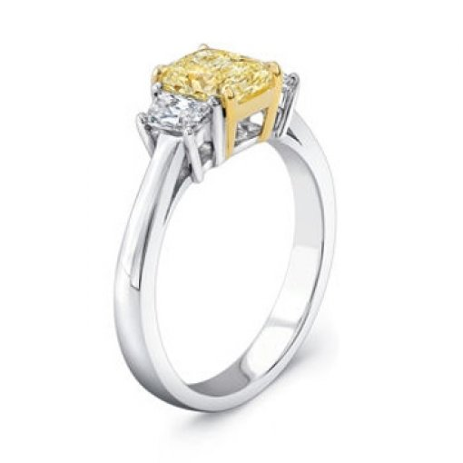 2.50ct GIA Cushion 18K 3 Stone Yellow Diamond Ring Fancy Intense/SI2