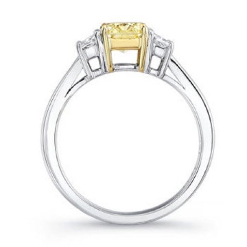 3.01ct GIA Cushion 18K 3 Stone Trapezoid Diamond Ring Fancy/VS1