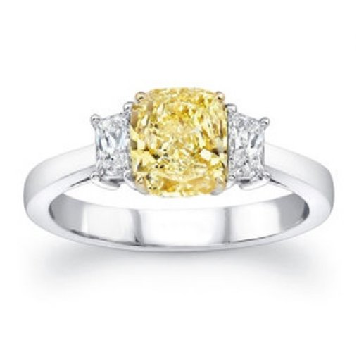 2.52ct GIA Cushion 18K 3 Stone Yellow Diamond Fancy Intense/VS1