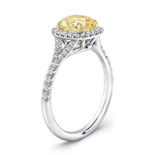 2.40ct GIA Cushion 18K Pave Halo Engagement Ring Fancy Intense/VS1