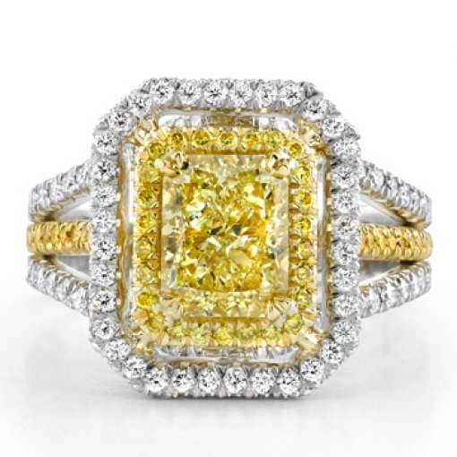 3.44ct GIA Radiant 18K Diamond Pave Halo Ring Fancy Intense/SI1