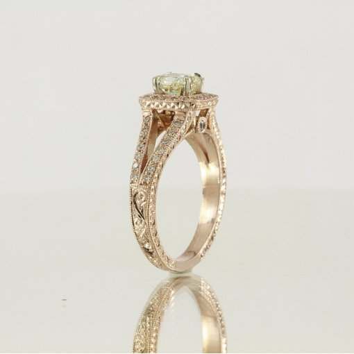 1.6ct GIA Cushion 18K Rose Gold Pave Halo Ring Fancy Light/VS2