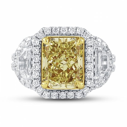 4.95 Carat Certified Radiant Cut Diamond With Fancy Intense Yellow VS2 Clarity in 18K White Gold 3 Stone Ring