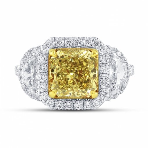 3.98ct Certified Radiant Cut Diamond in 18K White Gold 3Stone Ring Fancy Intense Yellow/Si2