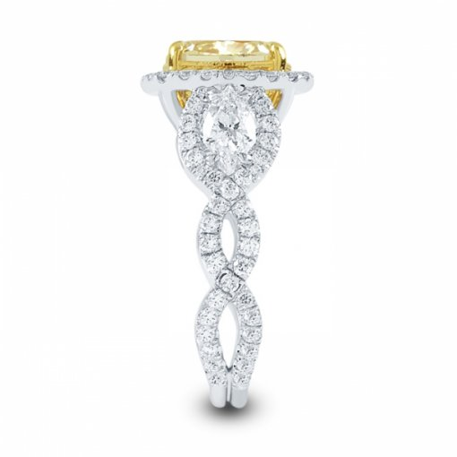 4.65ct Certified Cushion Cut Diamond with Fancy Vivid Yellow/SI1 Clarity in 18K White Gold Micro Pave Ring
