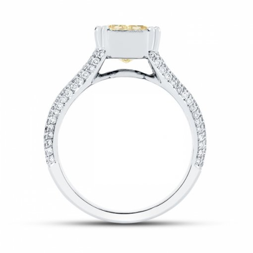 3.57ct Certified Radiant Cut Diamond with Fancy Intense Yellow/VVS1 Clarity in 18K Split Shank Ring