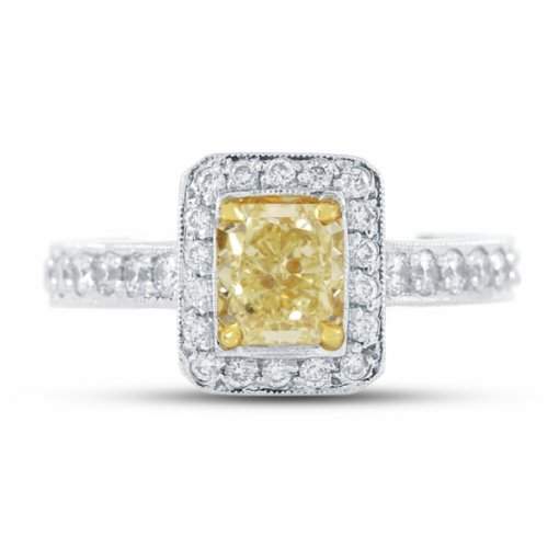 1.48ct Certified Cushion Cut Diamond with Fancy Yellow/VS1 Clarity in 18K White Gold Micro Pave Ring