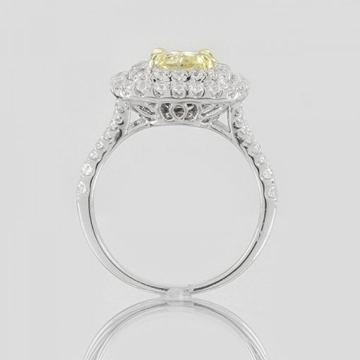 2.39ct EGL Radiant 18K Pave Diamond Ring Fancy Intense Yellow/VS2