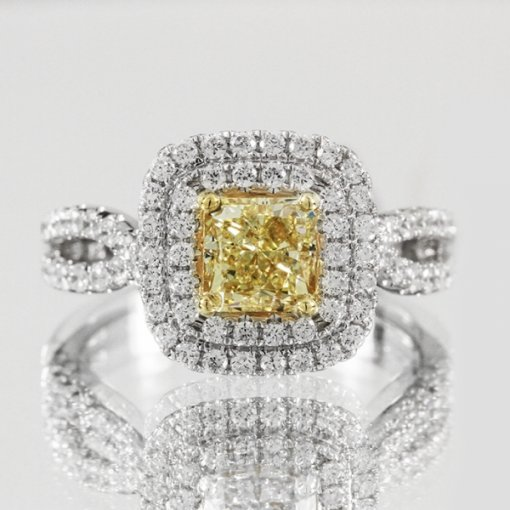 1.99ct EGL Radiant 18K Pave Diamond Ring Fancy Vivid Yellow/VS2