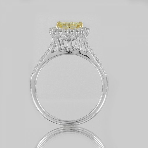 1.52ct EGL Radiant 18K Pave Diamond Ring Fancy Intense Yellow/SI2