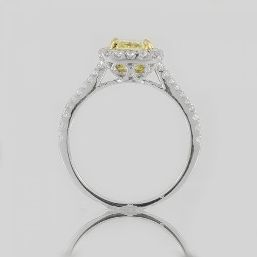 1.56ct EGL Radiant 18K Pave Diamond Ring Fancy Intense Yellow/SI1
