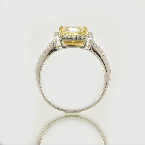 2.34ct EGL Cushion 18K Pave Diamond Ring Fancy Yellow/SI2