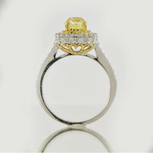 2.08ct EGL Cushion 18K Pave Diamond Ring Fancy Yellow/VS2