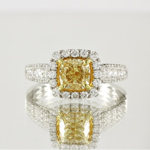 2.22ct EGL Cushion 18K Pave Diamond Ring Fancy Vivid Yellow/VS1