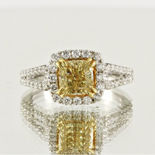 2.08ct EGL Cushion 18K Pave Diamond Ring Fancy Intense Yellow/SI1