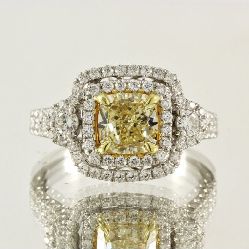 2.32ct EGL Cushion 18K Pave Diamond Ring Fancy Intense Yellow/VVS2