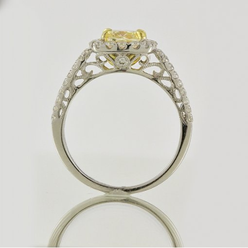 2.17ct EGL Cushion 18K Pave Diamond Ring Fancy Yellow/VS2
