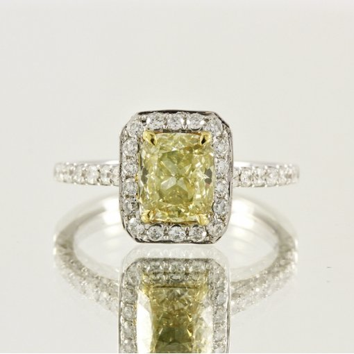 2.22ct EGL Cushion 18K Pave Diamond Ring Fancy Yellow/VS1