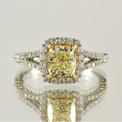 2.06ct EGL Cushion 18K Pave Diamond Ring Fancy Yellow/VS1