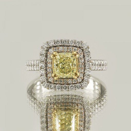 2.57ct EGL Cushion 18K Pave Diamond Ring Fancy Yellow/VS1