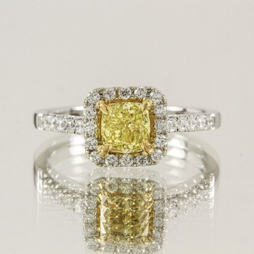 1.21ct  Cushion 18K Halo Pave Engagement Ring Fancy Intense Yellow/VS2