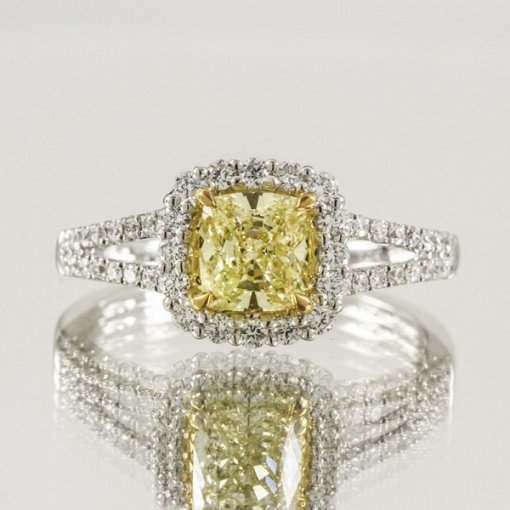 1.63ct  Cushion 18K Halo Pave Diamond Engagement Ring Fancy Yellow/VS1