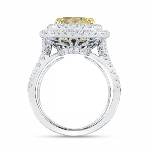 5.07ct EGL Cushion 18K Two Tone Gold Engagement Ring Fancy Yellow/I1