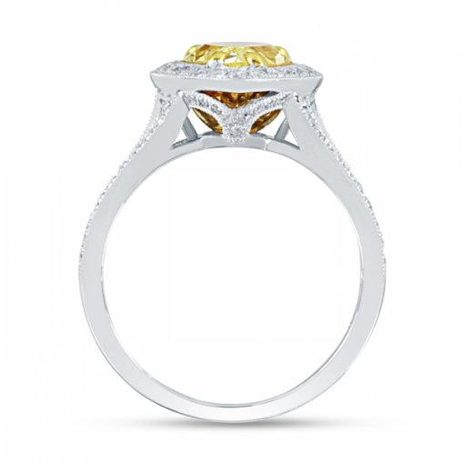3.07ct EGL Pear 18K Two Tone Gold Engagement Ring Fancy Vivid Yellow/I1