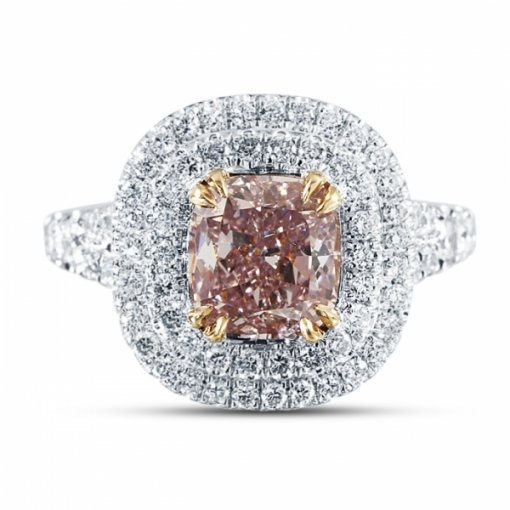 2.8ct GIA Cushion 18K Two Tone Gold Ring Fancy Purplish Pink/VVS2