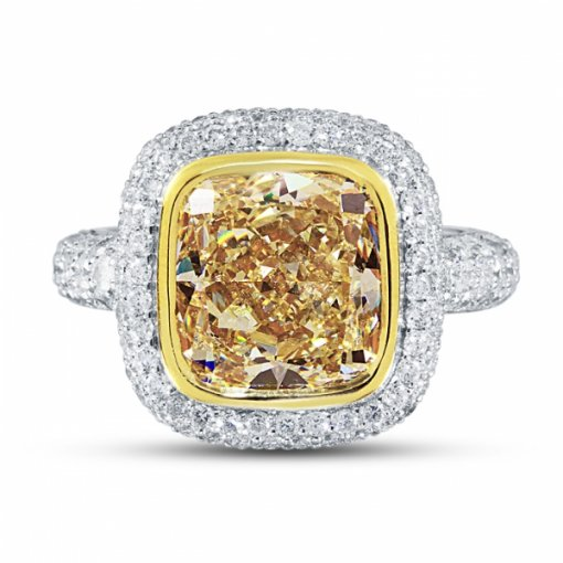 8.41ct EGL Cushion 18K Two Tone Gold Ring Fancy Light Yellow/VVS2