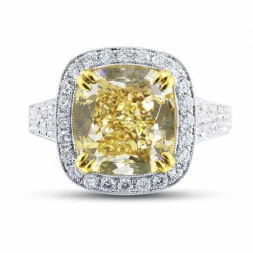 6.7ct EGL Cushion 18K Two Tone Gold Ring Fancy Intense Yellow/VS1