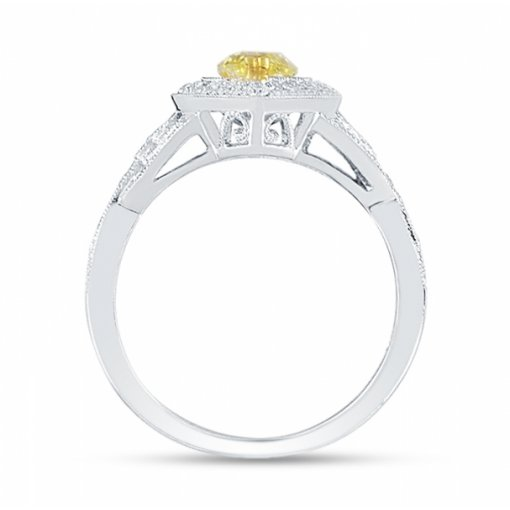 1.48ct EGL Marquise 18K Two Tone Gold Ring Fancy Intense Yellow/SI1