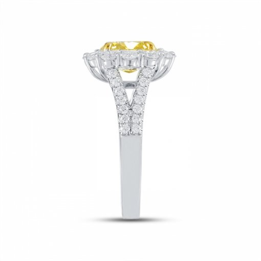 3.1ct GIA Cushion 18K White Gold Ring Fancy Vivid Yellow/SI1