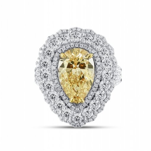 5.75ct EGL Pear 18K Two Tone Gold Ring Fancy Yellow-Fancy Intense/VVS1