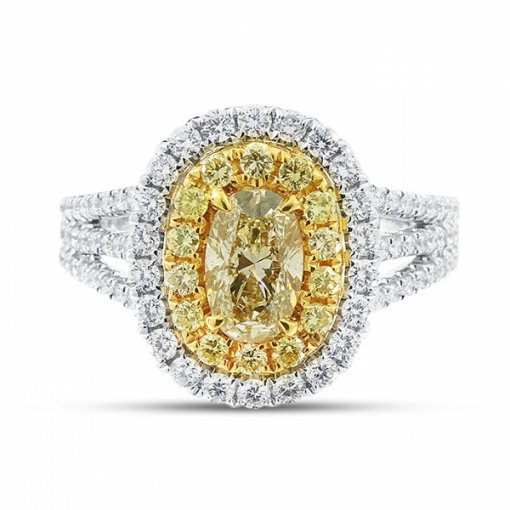 1.79ct EGL Oval 18K Two Tone Gold Ring Fancy Light Yellow/SI1