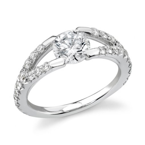 1.56 carat of Round Cut Diamond in Tention Split Shank Engagement Ring